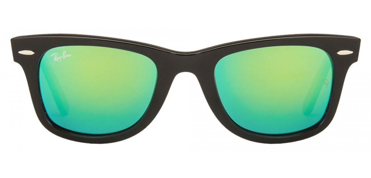 Ray-Ban RB2140 1175/19 Small (Size:50) Black Green Reflector Mirror Wayfarer Sunglasses