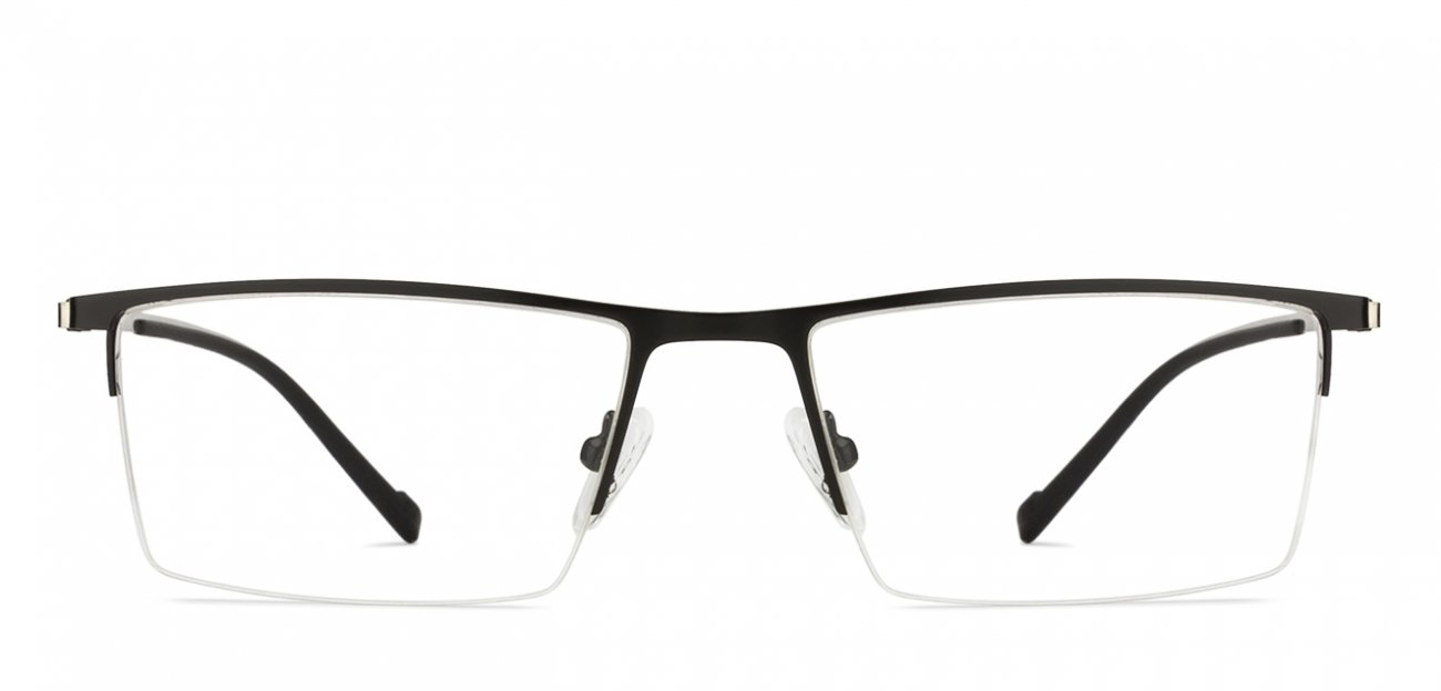 Black Half Rim Rectangle Medium (Size-54) John Jacobs Shibuya Crossing JJ E10531-C1 Eyeglasses