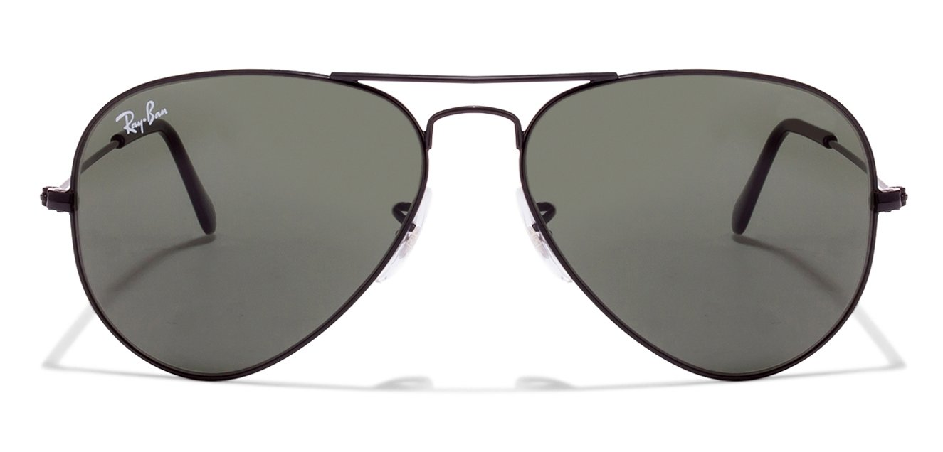 aviator arista  Ray-Ban RB3025 25 Size:55 Black Arista Green Aviator Sunglasses at ...