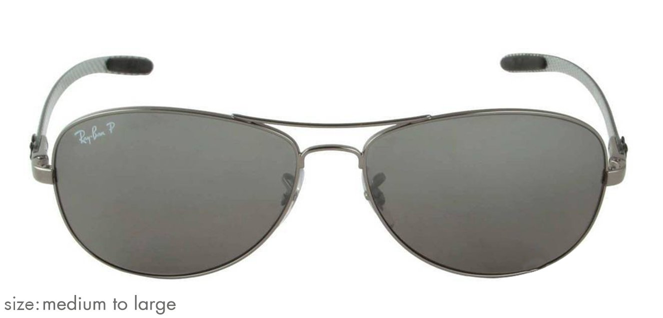 4cce45a954 Ray-Ban RB8301 Medium-Large (Size-59) Metal Gray Mirror Silver Green Men  Polarized  04-n8 Sunglasses