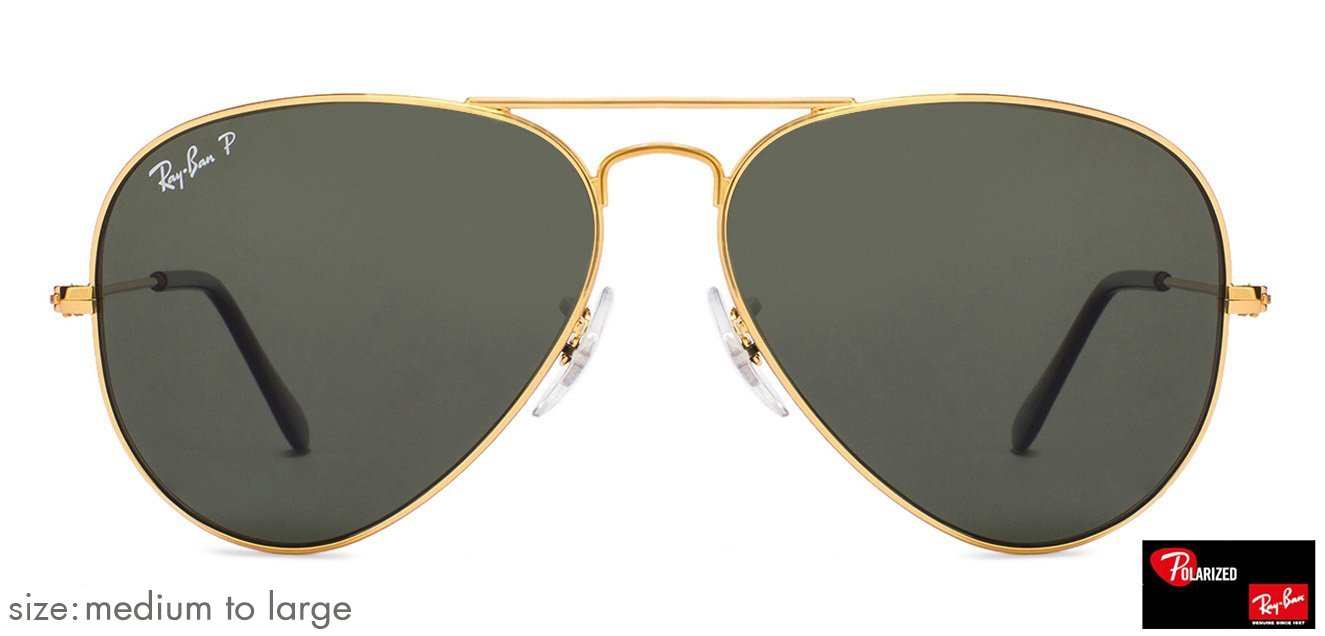 8f22ca41303 Ray-Ban RB3025 Medium-Large (Size-58) Golden Natural Green Unisex Polarized  58 Sunglasses