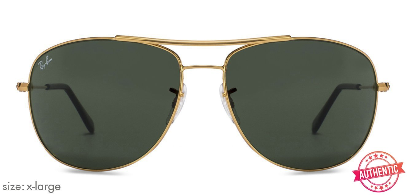 93992767d29d4 Ray-Ban 0RB3412 X-Large (Size-63) Golden Green Unisex 001 Sunglasses