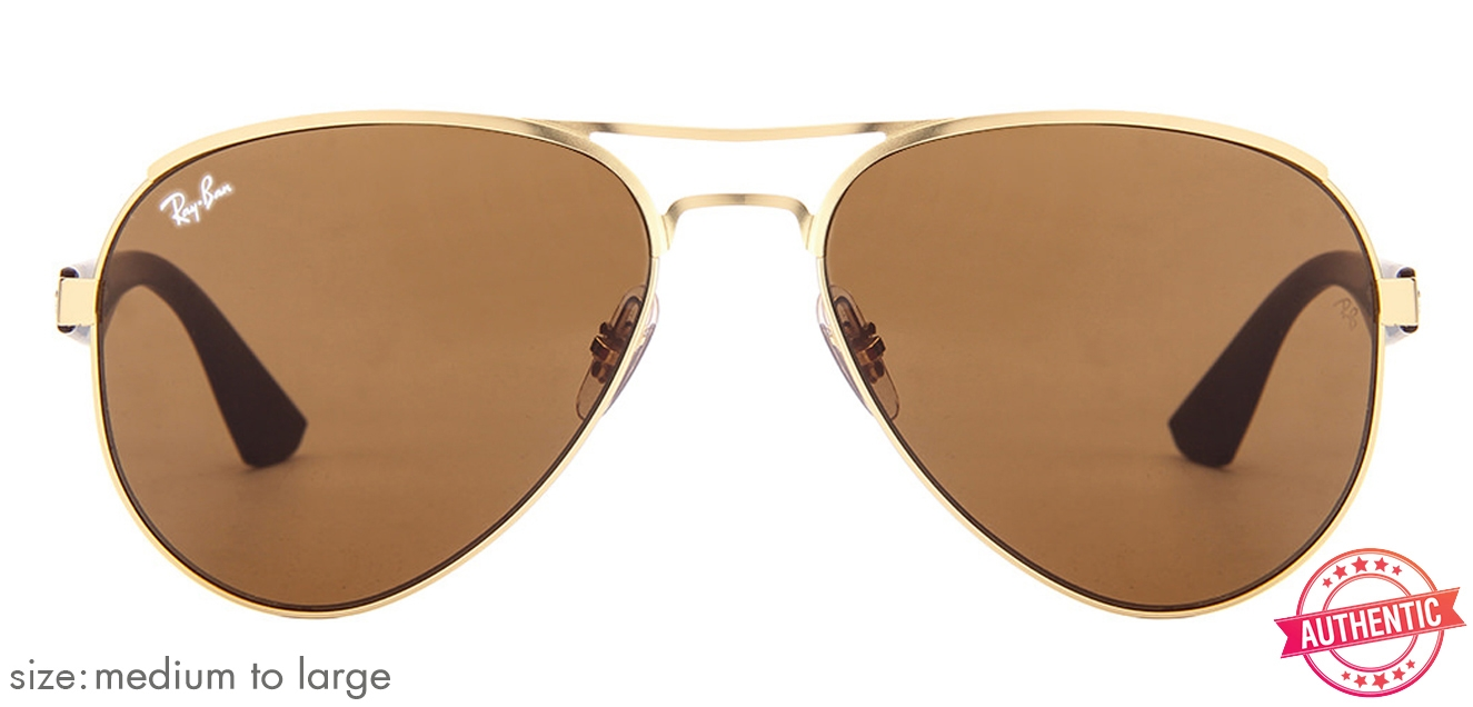 36ccc6f9a4 Ray-Ban RB3523 Medium-Large (Size-59) Matte Golden Brown Unisex 112-73  Sunglasses
