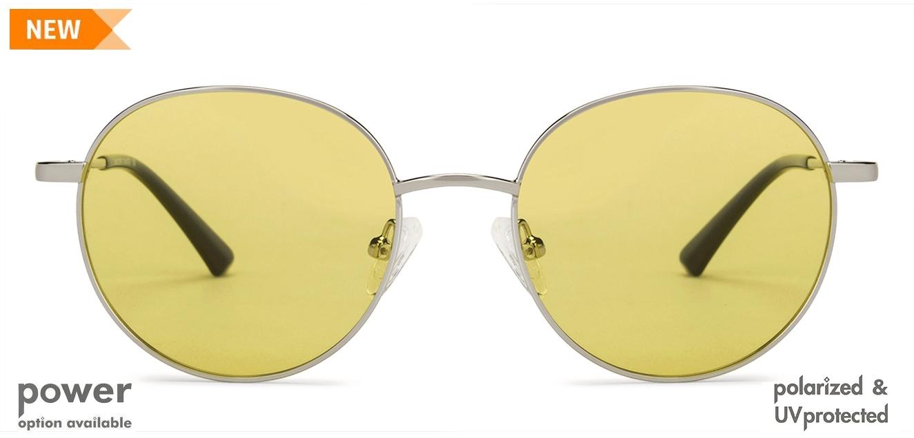 Silver Black Yellow Full Rim Round Vincent Chase Polarized Autumn 20 Vc S13112 C7 Polarized Sunglasses At Lenskart Com