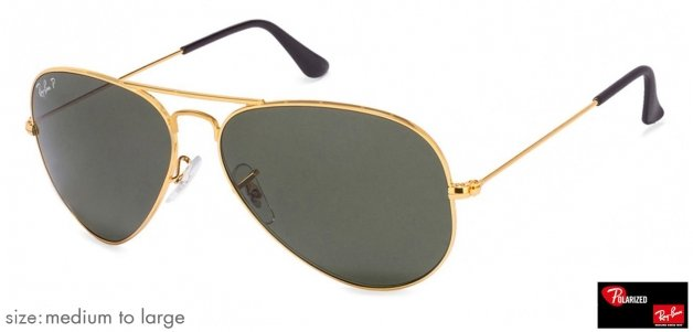 cdf4ff8b3f409 Ray-Ban RB3025 Medium-Large (Size-58) Golden Natural Green Unisex Polarized  58 Sunglasses
