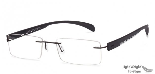 a92778a4275 Shop online for Black White Rimless Rectangle Small (Size-50) Vincent Chase  LUMINEERS VC 0317-10W0 Eyeglasses